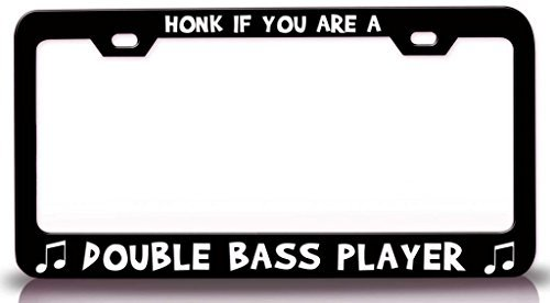 are A Double Bass Player with Music Note Steel Metal License Plate Frame Black ()
