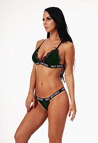 Bandage Lingerie Vert Set Femmes Vêtements Soutien Sous en Corset Gorge vêtements Velet MEIbax Up de Costume dentelle Sexy Dentelle Push sous Slip w0xnYPC7q1