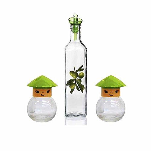 Juego de 1 aceitera y 2 especieros HEREVIN'Olive' de Cristal, Verde