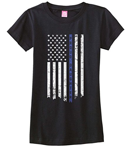 - Threadrock Big Girls' Proud Daughter Thin Blue Line Fitted T-shirt L Black