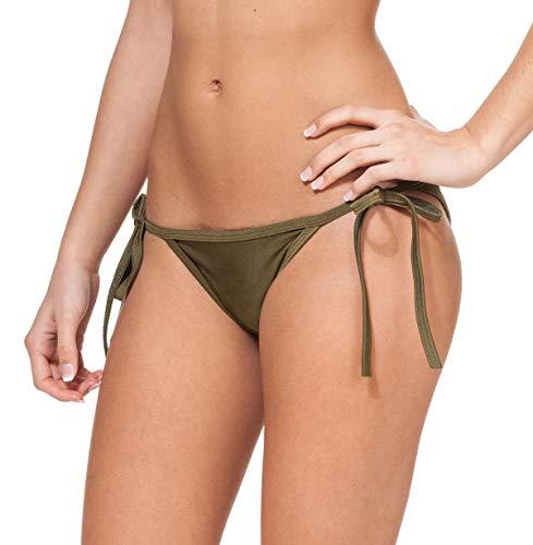 Gary Majdell Sport Women's New String Bikini Swimsuit Bottom Olive Medium