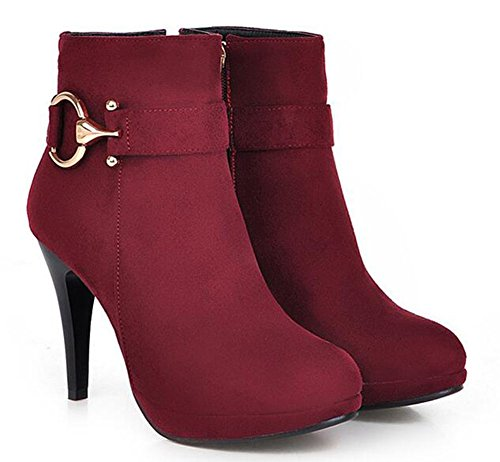 CHFSO Womens Sexy Stiletto Solid Round Toe Zipper Metal Decoration High Heel Ankle Boots Wine Red 649kP