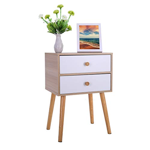 Hohaski North American Modern Minimalist Bedside, Locker Double Drawer Nightstand Cabinet Storage Solid Wood Legs 11.8×15.7×23inch (Ship from US!!!) (Yellow) ()