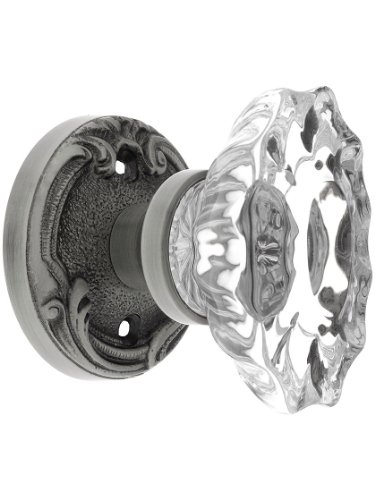 Lafayette Rosette (Lafayette Rosette Door Set With Fluted Oval Crystal Knobs, In 7 Finishes)