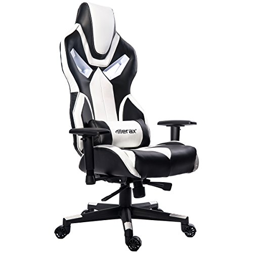 Merax Ergonomic High Back Swivel Racing Style Gaming Chair PU Leather with Lumbar Support and Padded Headrest (White)