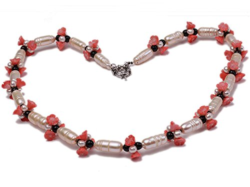 (JYX Natural White Baroque Freshwater Pearl with Black Agate Red Coral Flower Necklace)