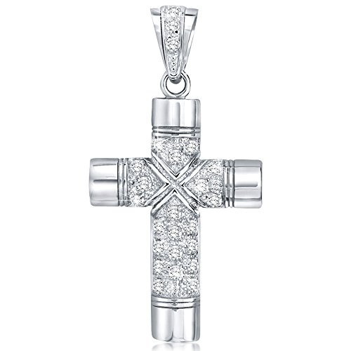 Large Cross Pendant with Round Cubic Zirconia Stone's. Large Bail to fit Wide Chains, Hand Polished, Platinum Plated, Appears Identical to Platinum or White Gold. (Silver Plated Sterling Silver Cross)
