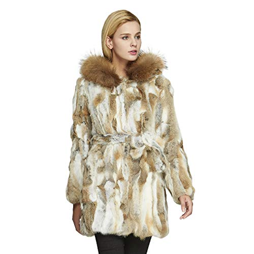 Fur Story Women's Real Rabbit Fur Coat with Raccoon Fur Hood Full Sleeve (Nyellow) US4
