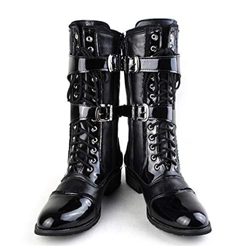 [モリケイ] ジョッパーブーツ 高筒長靴 メンズ ロングブーツ 黒 PU レザー ジョッキーブーツ 乗馬 サイドジップ 2連ベルト 編み上げ カウボーイ 大きいサイズ 27.5cm ポインテッドトゥ 軍服系 コスプレ