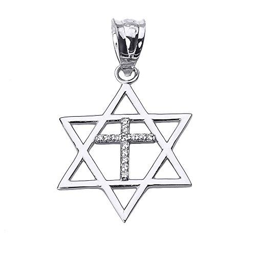 High Polish 14k White Gold Jewish Charm Star Diamond Cross of David Pendant