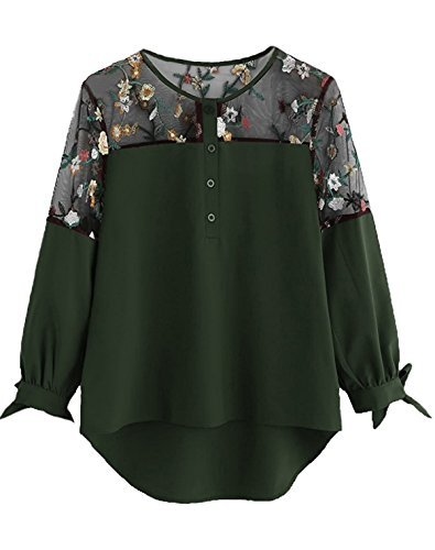 Floral Lace Tie - Milumia Women's Floral Embroidered Lace Panel Tie Cuff High Low Blouse Top X-Large Green