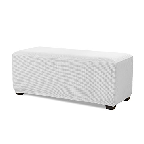 Subrtex Stretch Storage Ottoman Slipcover Spandex Elastic Rectangle Footstool Sofa Cover for Living Room (Large,Off-White)