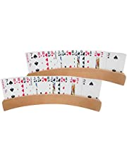 Dreamseeker 2 Boxes of Panoramic Wooden Playing Card Holders for Kids Seniors Adults with Widen Base Stable Enough for for Bridge Foot and Hand