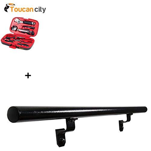 (Toucan City Tool Kit (9-Piece) and EZ Handrail 4 ft. Textured Black Aluminum Round Hand Rail Kit EZA4KIT-HB)