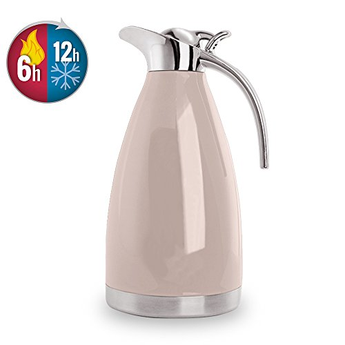 Pink Carafe - Bonnoces 68 Oz Stainless Steel Thermal Carafe - Double Walled Vacuum Insualted Thermos/Carafe with Lid - Coffee/Tea Carafe Heat & Cold Retention - 2 Liter