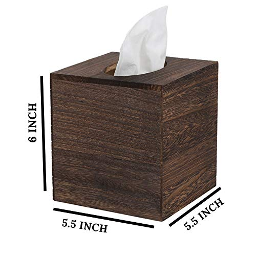 JOYOHOME Wooden Tissue Box Cover with Slide-Out Bottom Panel Square Farmhouse Tissue Box Holders Decorative Facial tissues Cube Box Holder for Bathroom, Bedroom, Dinner Table, Office