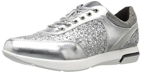 Wanted Shoes Women's Hayes Fashion Sneaker, Silver, 8 M US