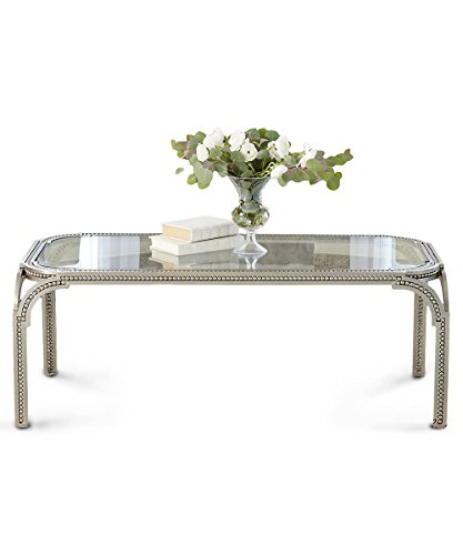 Global Views Luxe Beaded Edge Silver Metal Arch Coffee Table | Cocktail Iron Williamsburg (Iron Forged Legs Table)