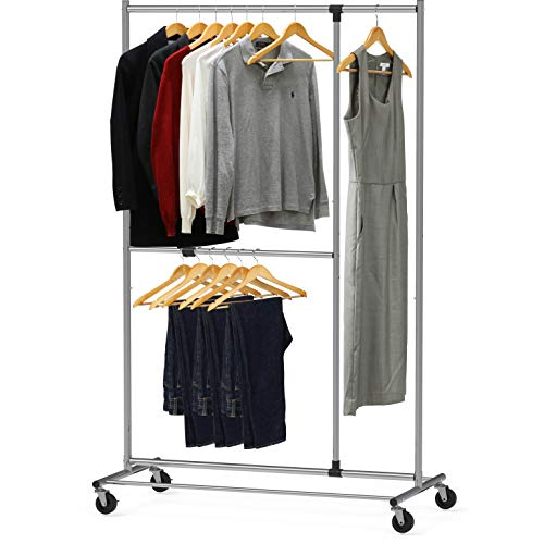 - Simple Houseware Dual Bar Adjustable Garment Rack, Chrome, 72-inch Height