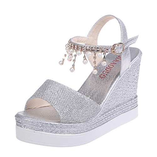 SSYUNO Women's Platform Sandals Espadrille Wedge Ankle Strap Crystal Peep Toe Sandals Summer Bohe Comfy Dress Sandals Silver