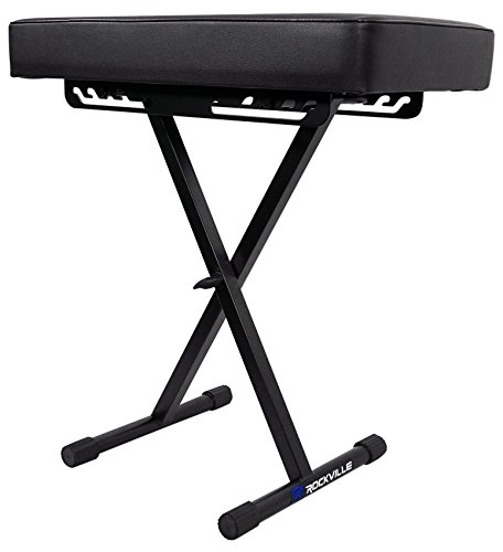 Rockville RKB61 Extra Thick Padded Foldable Keyboard Bench w/Quick-Release