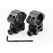 RioRand 2pcs 25.4mm Medium Profile Scope Mount Rings double nail Picatinny/Weaver Rail Mount Wide 22mm