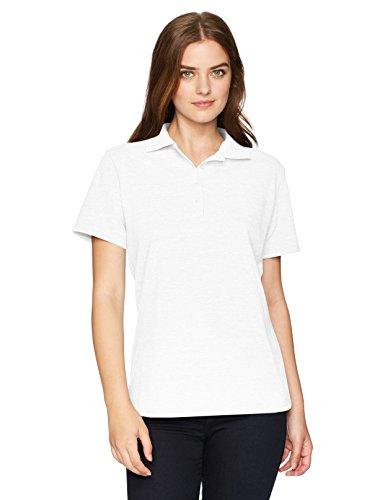 Hanes Women's X-Temp Polo with FreshIQ, White, X Large (Polo White Pique)