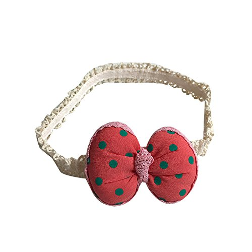 Forthery Baby Girl Hairband Ribbon Ball Butterfly Bow Knot Elastic HeadBand (Watermelon Red)