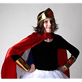 - 41GTmlJu3NL - Making Believe Girls Gold Wonderful Superhero Costume Cuffs and Headband Set