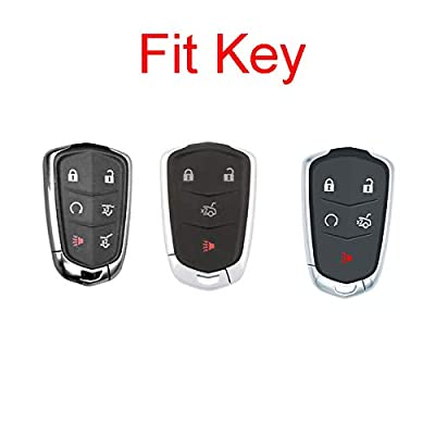 Royalfox(TM) 4 5 6 Buttons 3D Bling keyless Entry Remote Smart Key Fob case Cover for 2016-2020 Cadillac CT6, 2020-2020 XT5, 2014-2020 CTS, 2015-2020 XTS SRX ATS Accessories,with Keychain (Black)