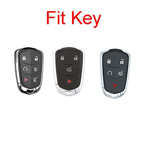 Royalfox 2017-2018 XT5 2014-2018 CTS 4 5 6 Buttons TPU Smart keyless Entry Remote Key Fob case Cover Keychain for 2016-2018 Cadillac CT6 Rose Gold TM 2015-2018 XTS SRX ATS