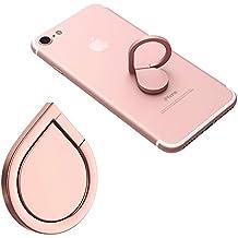 Soporte universal de teléfono inteligente dedo anillo grip 360° Soporte Monturas de coche para iPhone de 7Plus, 6PLUS, 7, 6, 5, 5C, 5S, iPad, Samsung Galaxy S7, S7edge S6, S6Edge, S7, S7edge, Rose gold