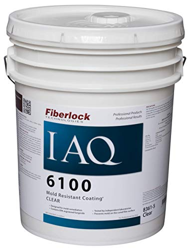 Fiberlock IAQ 6100-Mold Resistance Coating,Fungistatic Agent Resists Mold Growth on Dry Coating Film 5 Gallon Clear