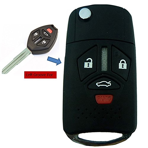 KEMANI New Uncut Blank 3+1 Buttons Remote Flip Key Shell Case For 06 07 2006-2007 Mitsubishi Galant Lancer Endeavor Eclipse 4 Buttons Folding Fob Replacement