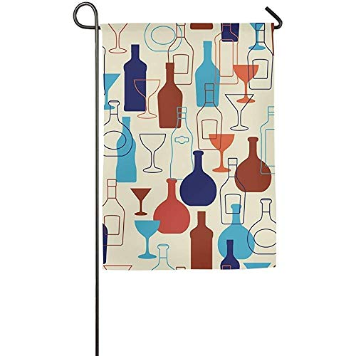 Brownnrio Garden Flag - Custom Bar With Bottles And Glasses
