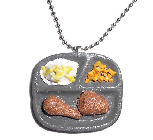 (Retro TV Dinner Fried Chicken Meal Polymer Clay Fake Food Necklace)
