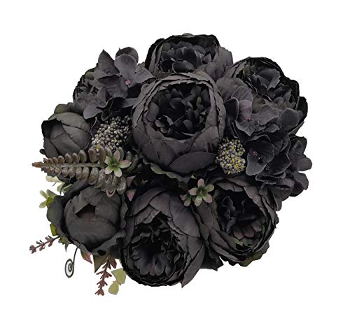 Jyi Hope Artificial Flowers Fake Silk Peony Flower Bouquet Decor for Home Halloween Party Decoration (Black) (The Best Flower Bouquets)