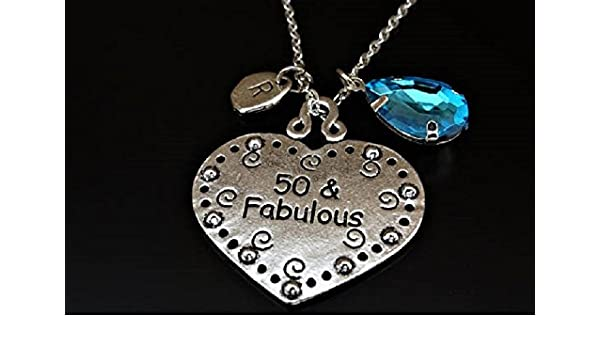 50 And Fabulous Necklace 50th Birthday For Her Gift Invitation Women