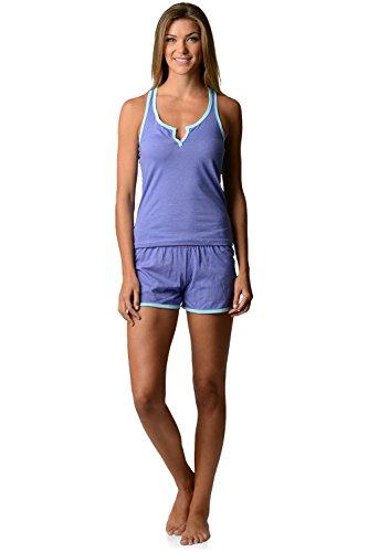Casual Nights Women's Knitted Sleeveless Tank and Pajama Shorts Set - Purple - X-Large