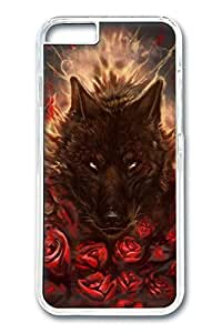 iPhone 6 Plus Case, Protective Slim Hard PC Clear Case Cover for Apple iPhone 6 Plus(5.5 inch)- Black Red Wolf Tatto