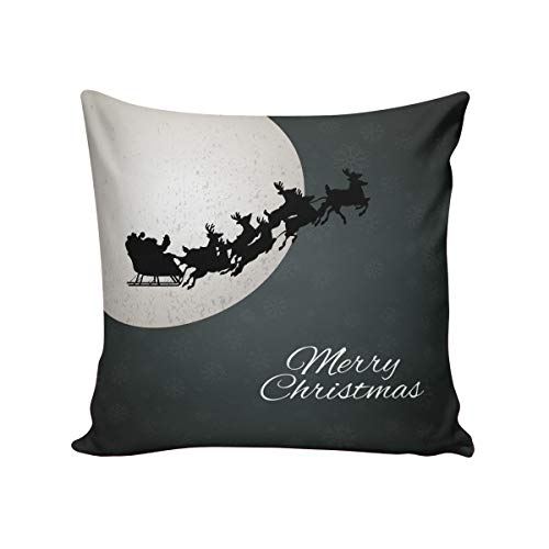 Comfortable Throw Pillow Cover for Bedding, Decorative Accent Cushion Sham Case for Couch Sofa, Soft Solid Satin with Zipper Hidden - 26x26 in, Christmas Eve Moon Night Elk Sleigh Santa Claus Green (Chicago Bears Santa Pillow)