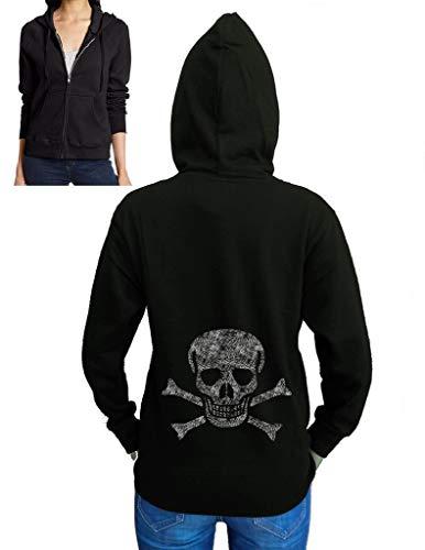 Koyotee Junior's Sketch Jolly Roger Skull Black Fleece Zipper Hoodie Medium Black]()