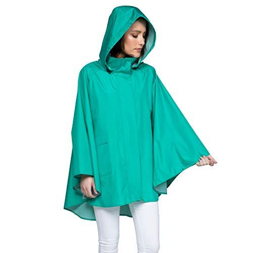 November Rain Waterproof Poncho - Rain Jacket with Hood - Blue (PNW)