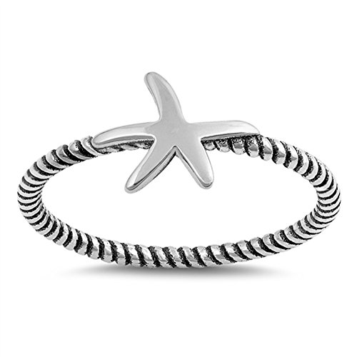 Starfish Rope Ocean Sea Animal Star Ring New 925 Sterling Silver Band Sizes 3-12