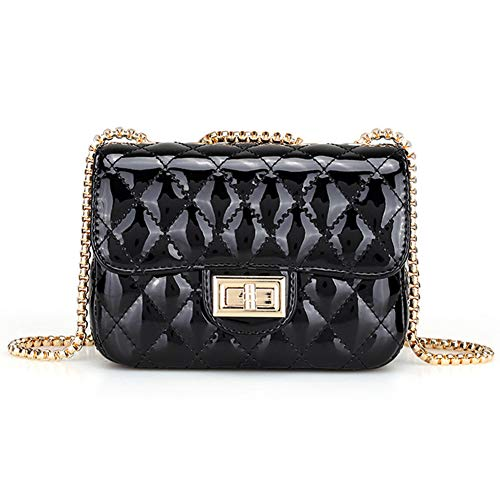 - Yoome Women Mini Patent Leather Crossbody Shoulder Bag Quilted Beach Bag Chain Purse