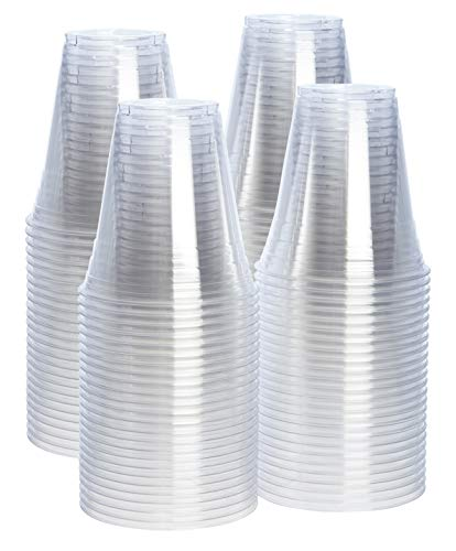 Clear Disposable Cups - [100 Pack - 12 oz.] Crystal Clear PET Plastic Cups