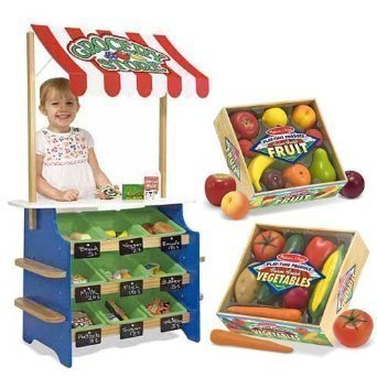 Melissa & Doug Grocery Store and Lemonade Stand with Playtime Fruits and Playtime Veggies Bundle ()
