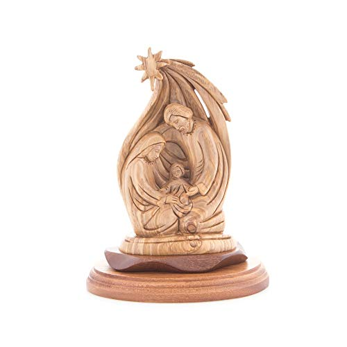 Bannouras Olive Wood - Olive Wood Holy Family and The Star of Bethlehem Statue