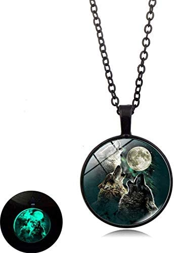 Black Moonnight Store 2019 Classic Wolf Pattern Glass Dome Alloy Luminous Pendant Necklace Glow In The Dark Necklace Charm Women Men Punk Jewelry