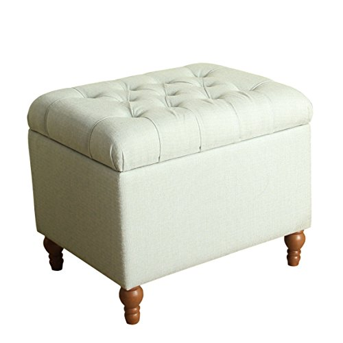 Storage Ottoman , Medium Button Tufted Green Speckled Natural Colored Tweed with Wooden Turned Legs
